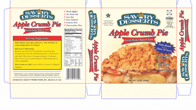Savory Desserts Apple Crumb Pie Packaging