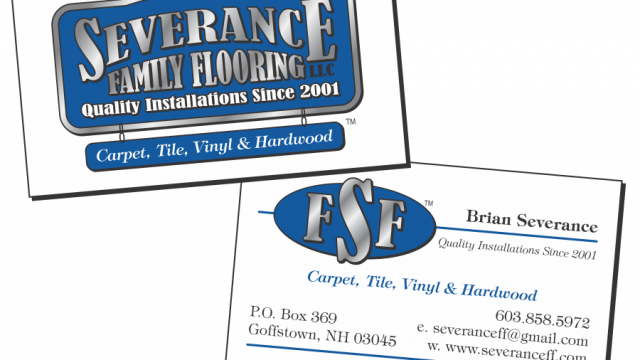 Severance Family Flooring logo and business card design