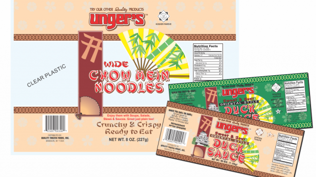 Unger's Noodle and Sauce Packaging Design