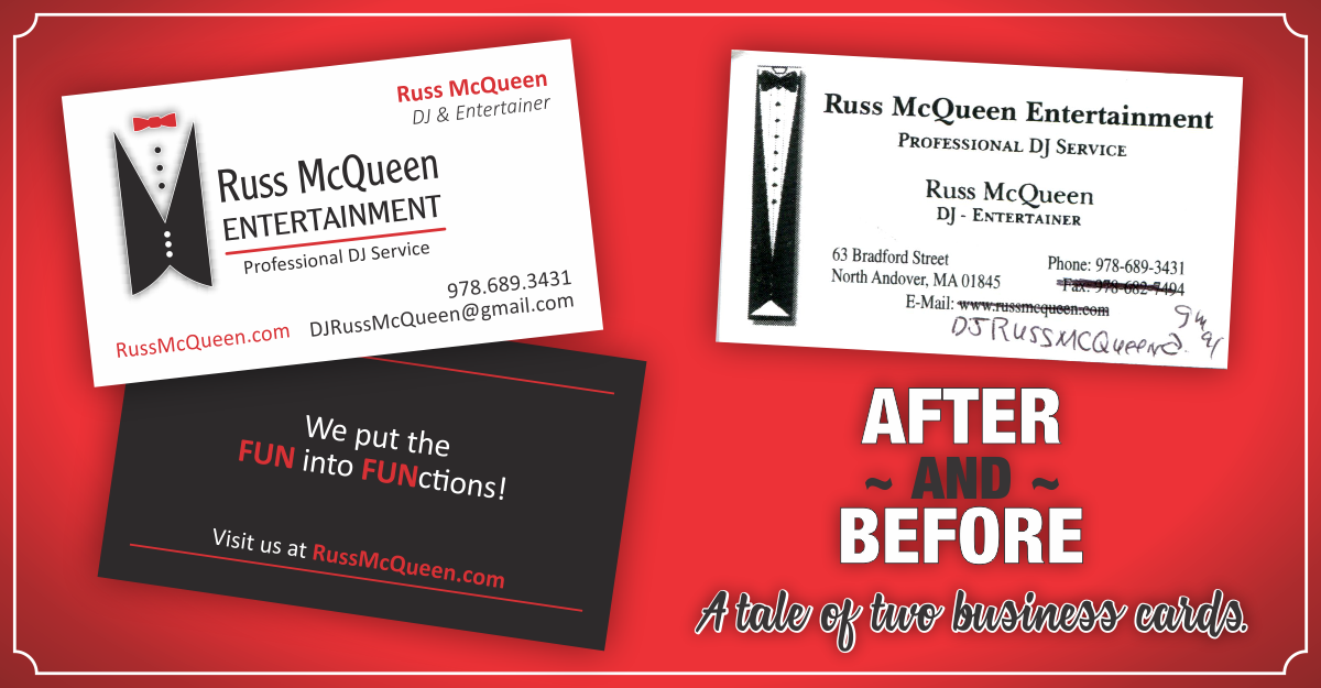 Business card redesign a tale of two business cards graphicx reheart Image collections